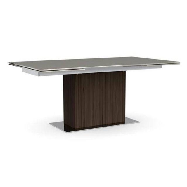 Inside 75 Park table repas extensible haut de gamme 180x100 en verre couleur grège