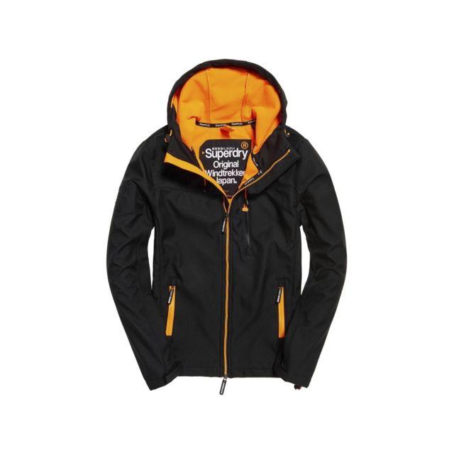 83526b31e7389 Superdry - Veste Hooded Windtrekker Black / Orange Noir - pas cher Achat /  Vente Blouson homme - RueDuCommerce