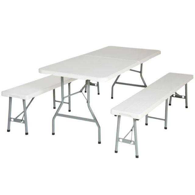 Autre Ensemble table + 2 bancs pliant salon jardin camping pique-nique 2008035