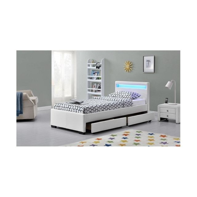 FOURNIER DECORATION DRAWER NIGHT LIT PU BLANC MAT A LED + TIROIRS 90X190 CM