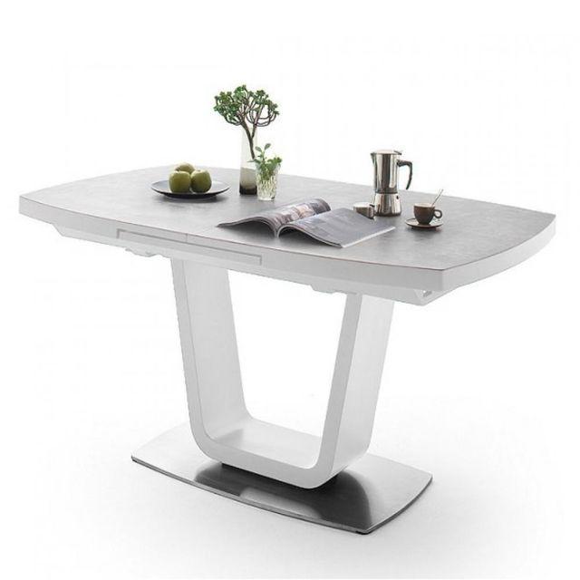Inside 75 Table repas extensible Lucia céramique gris clair 140 x 85 cm