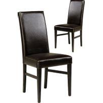 Comforium - Lot de 2 chaises moderne pour salle à manger coloris brun