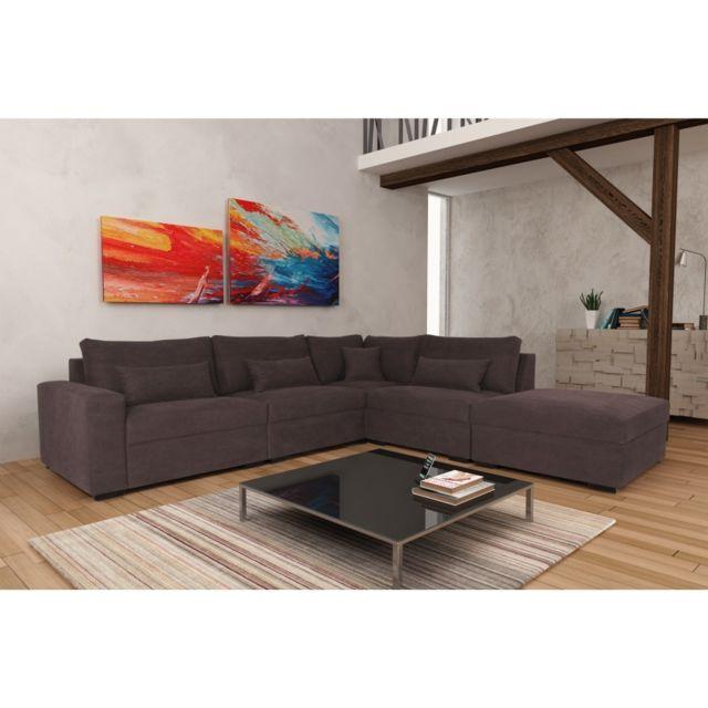 Rocambolesk Canapé Mykonos 1B1A1P Denim 084 brun angle droit sofa divan