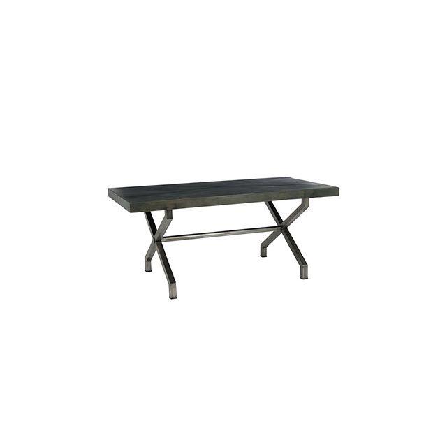 Table 180x90x77cm en métal gris et bois marron foncé