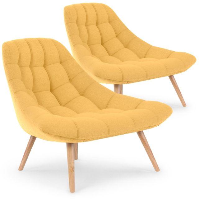 MENZZO Lot de 2 fauteuils Danios Tissu Jaune