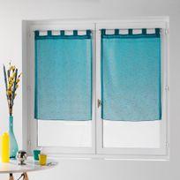 Douceur D'INTERIEUR - Une paire de rideau voilage 60 x 160 cm coupe dandy bleu turquoise