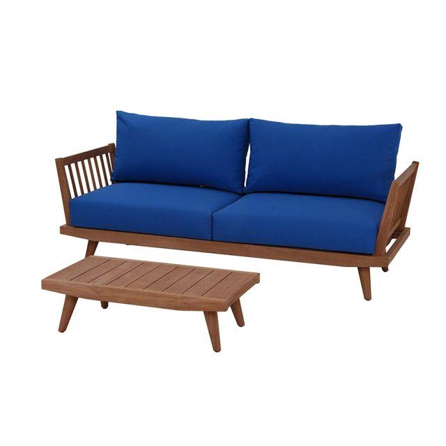 KINGSBURY Ensemble Jersey - 1 canapé teck 2 places avec coussins et double housse: bleu et vert, + table basse en teck