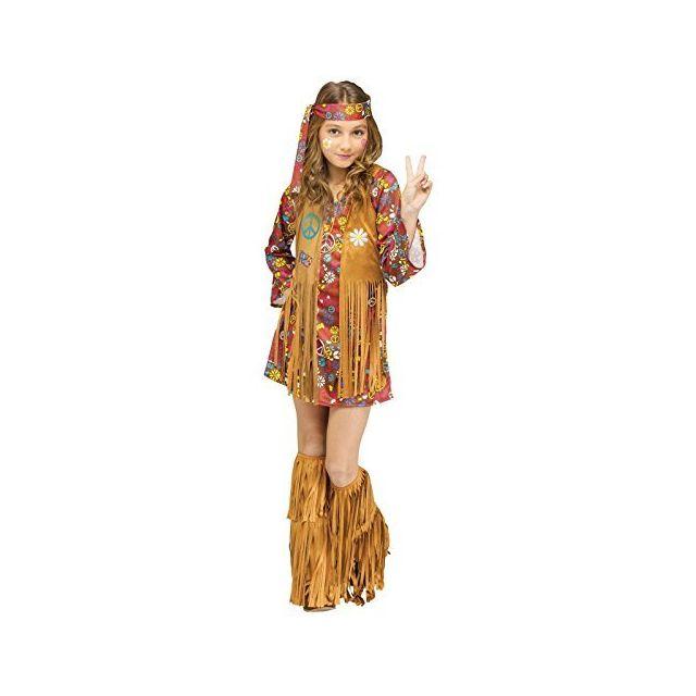 Fun World Girls Peace & Love Hippie Costume Multicolor Small 4-6
