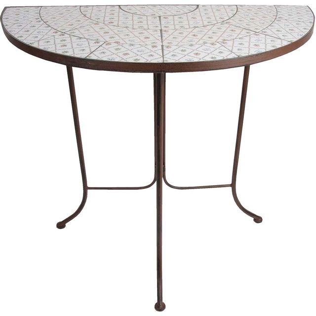 Esschert Design - Table demi-ronde en céramique et métal ...
