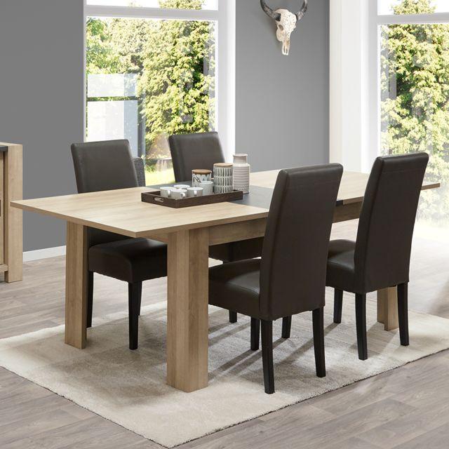 Nouvomeuble Table extensible couleur bois clair et ardoise Hermione