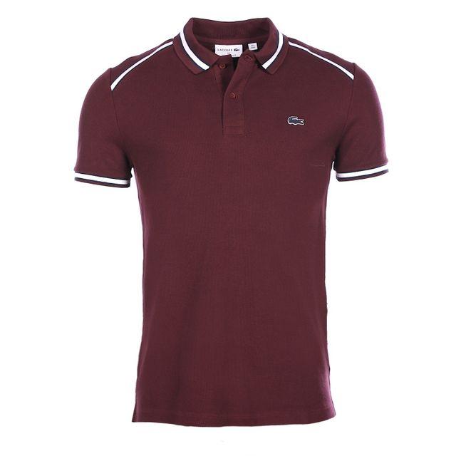 6313b8032f6 Lacoste - Homme - Polo bordeaux vendange en coton piqué Ph0648 - pas ...