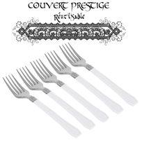 Vaisselle-jetable - 20 fourchettes prestige jetables plastique blanc