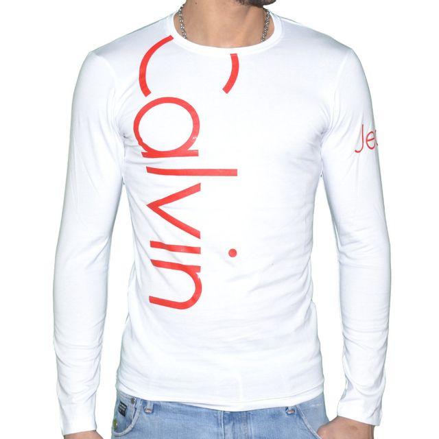 Cmp53u Calvin T Homme Blanc Longues Manches Klein Shirt XkuOZPi