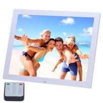 Wewoo - Cadre photo numérique blanc 14 pouces Hd Led avec support et télécommande, Allwinner, réveil / Mp3 / Mp4 / lecteur vidéo