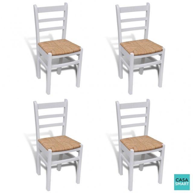 Casasmart Lot de 4 Chaises Blaze de salle à manger en bois blanc