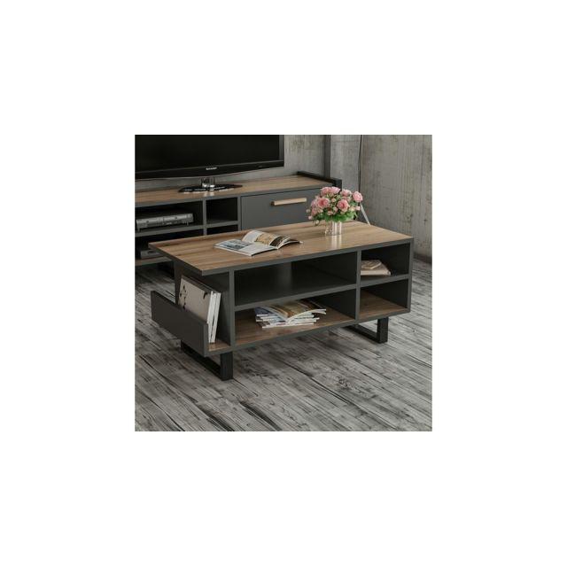Homemania Table Basse Leno Compacte - avec Étagères - pour Salon - Noyer, Anthracite, Noir en Bois, 90 x 45 x 43 cm
