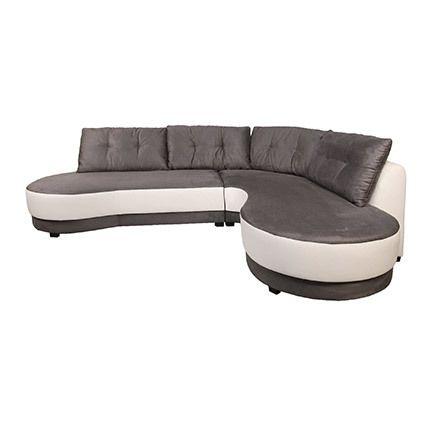 Canapé d'angle à droit en microfibre noir et blanc - Lorraine