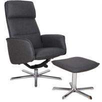 4e07862e38801a Fauteuil de relaxation RENO design moderne et relax avec repose-pieds pouf  siège pivotant