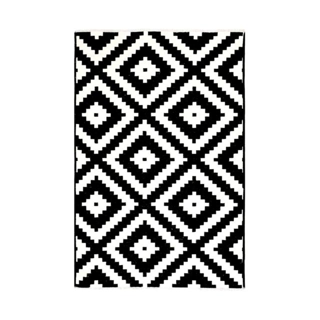 homense tapis motif geometrique reversible blanc et noir genes 77x150 cm pas cher achat. Black Bedroom Furniture Sets. Home Design Ideas