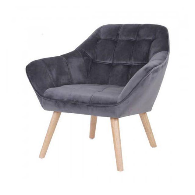 Mathi Design Sames - Fauteuil en velours gris et pieds bois