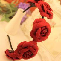 Wewoo - Bandeau Paquet 2 bandes cheveux fleur camélia classique minimaliste mode couleur: vin rouge