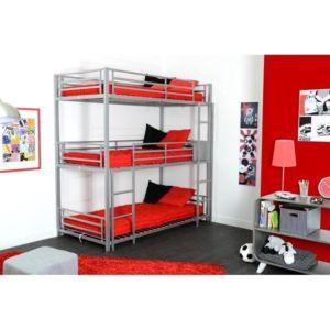 mcd triple lit superpos enfant gris 90x190 cm pas cher achat vente penderie rueducommerce. Black Bedroom Furniture Sets. Home Design Ideas