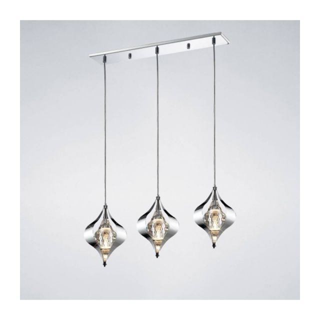 Luminaire Center Suspension Amano Line 3 Ampoules chrome poli/cristal