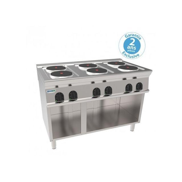 Materiel Chr Pro Piano de cuisson électrique sur placard ouvert - 6 plaques rondes 15,6 kW - gamme 700 - Tecnoinox - 700