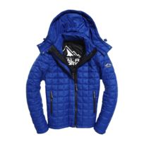Superdry - Doudoune Box Quilt Fuji Hooded Royal