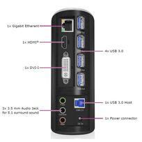 Icy Box - Station d'accueil Ib-dk2651AC pour ordinateur portable et de bureau Ethernet / Usb / Hdmi / Dvi / audio