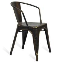 Novara Mobili - Chaise en métal Lix Style Special Vintage Noir avec accoudoir