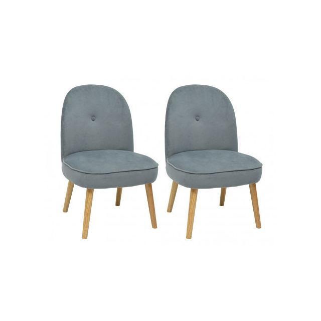 Lot de 2 fauteuils INGRID en velours - Gris
