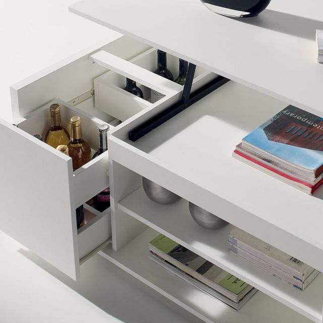 Nouvomeuble Table Basse Modulable Blanche Design Aude 2 Pas