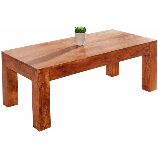 COMFORIUM Table basse 100 cm en bois d'acacia coloris ciré naturel
