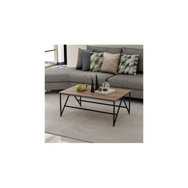 Homemania Table Basse Hayes pour Salon - en Bois, Métal, 90 x 60 x 38 cm