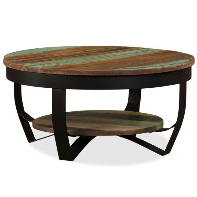 Vidaxl Table Basse Bois Massif de Récupération Table d'Appoint Meuble Salon
