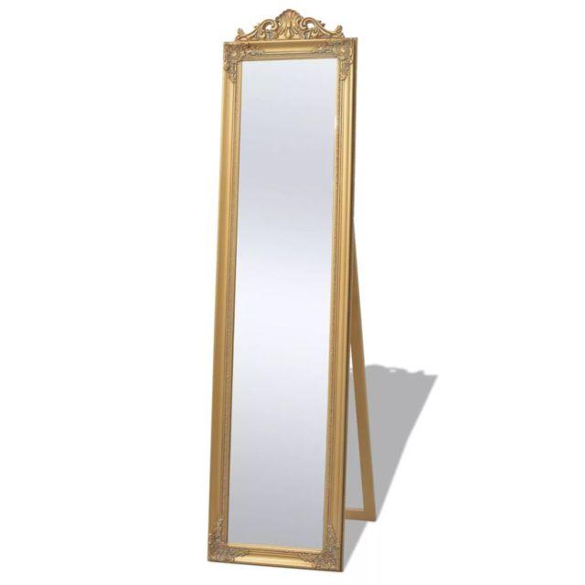 Miroir Sur Pied Style Baroque 160 X 40 Cm Dore