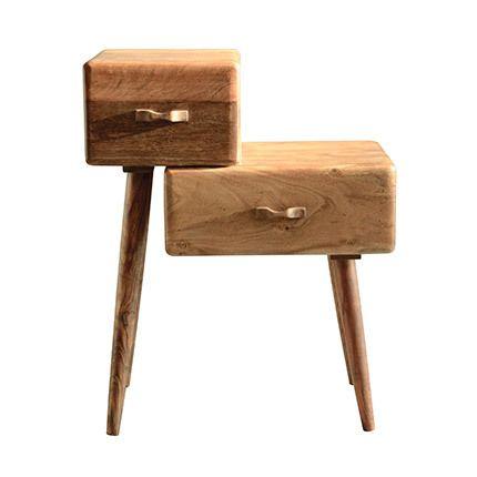 Table appoint 2 tiroirs asymétrique en bois acacia