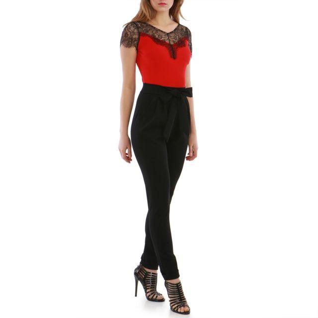 Lamodeuse - Combinaison rouge et noire avec ceinture à nouer - pas ... 7f3921f177b