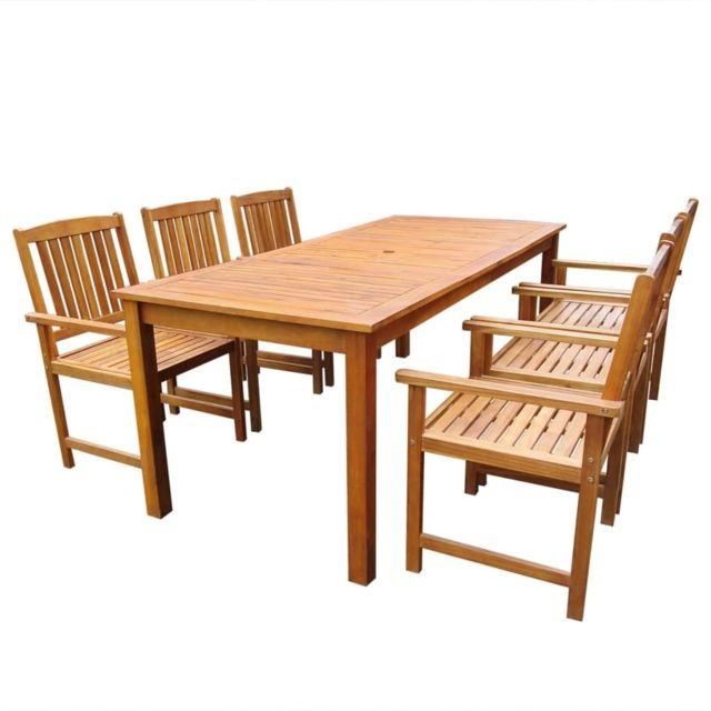 Vidaxl Jeu de salle à manger d'extérieur 7 pcs Bois d'acacia solide
