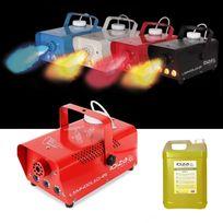 Ibiza Light - Mini machine à fumée rouge 400W à Leds 3X3W + 5L de liquide à fumée