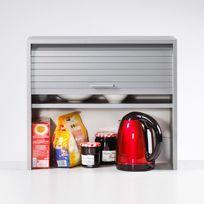 Elément de rangement pour cuisine avec rideau coulissant L60cm H53.6cm Cook  - Aluminium