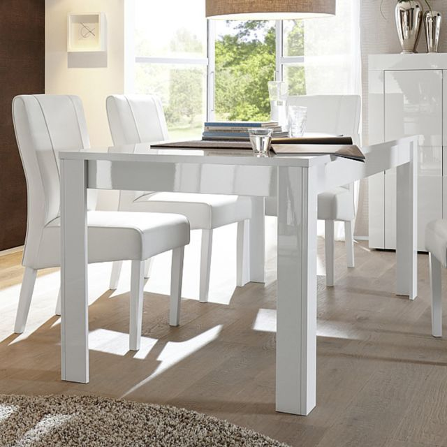 Sofamobili Table à manger blanc laqué brillant design Okland - Sans rallonge