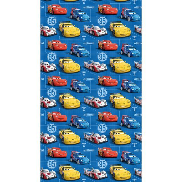 Bebe Gavroche Rideau Taille L Cars Flash Mc Queen Sur Fond Bleu