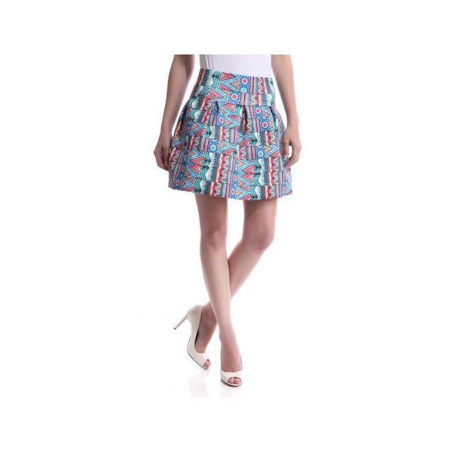f65b55c8447 La Modeuse - Jupe patineuse imprimé arty pop multicolore - pas cher ...