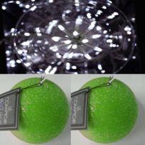 Feerie Lights - Guirlande d'extérieur blanc et bougies boules vertes