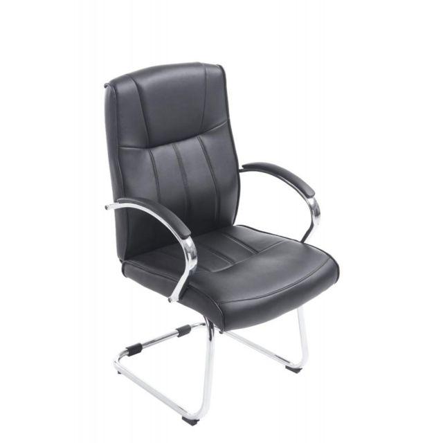 decoshop26 fauteuil chaise de bureau sans roulette en simili cuir noir bur10025 pas cher. Black Bedroom Furniture Sets. Home Design Ideas