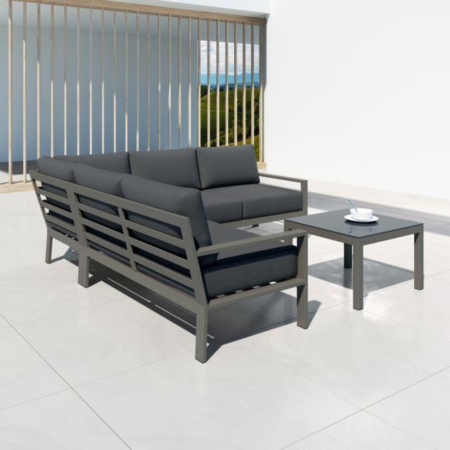 Mio - Ensemble salon de jardin design aluminium - Gris - intérieur/extérieur