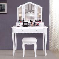 Rocambolesk - Superbe Grande coiffeuse Table de maquillage style champêtre avec 3 miroir, 4 tiroirs et 1 tabouret Rdt07W neuf