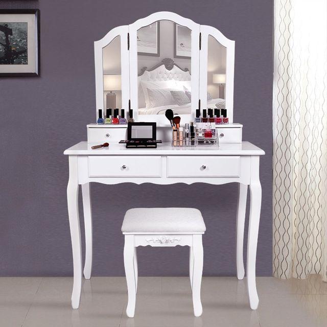 Rocambolesk Superbe Grande coiffeuse Table de maquillage style champêtre avec 3 miroir, 4 tiroirs et 1 tabouret Rdt07W neuf